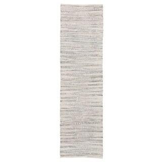 "Solis Natural Stripe White/ Blue Runner Rug (2'6""X9') - 2'6 x 9'"