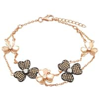 Luxiro Sterling Silver Two-tone Finish Champagne Cubic Zirconia Flower Bracelet