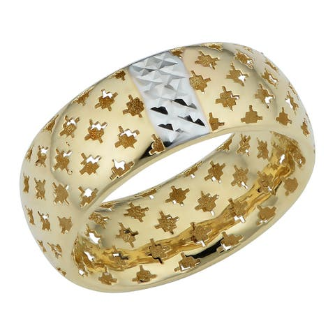 Italian 14k Two-tone Gold Lattice Band Ring (7.75 millimeters thick)