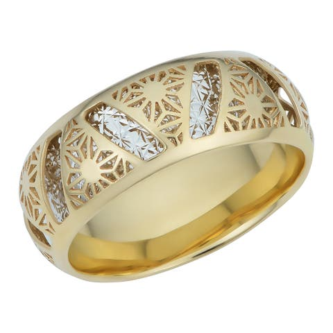 Italian 14k Two-tone Gold Filigree Snowflake Band Ring (7 millimeters thick)