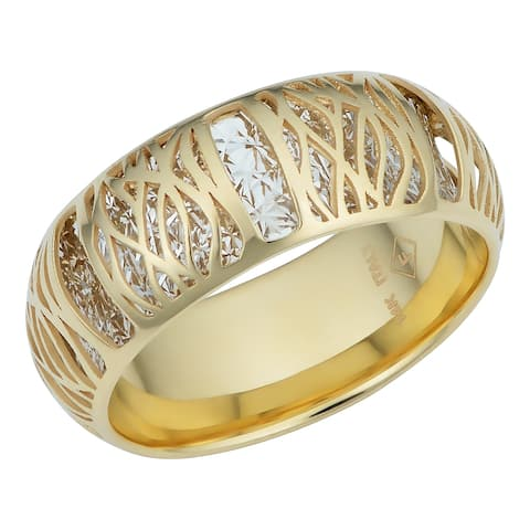 Italian 14k Two-tone Gold Filigree Band Ring (7.2 millimeters thick)
