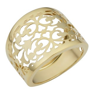 14k Yellow Gold Filigree Cigar Band Ring (16.5 millimeters wide)