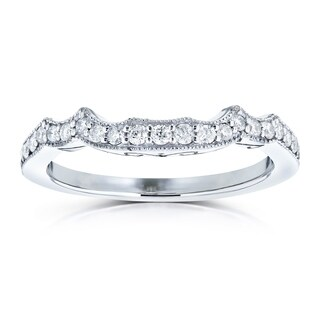 Annello by Kobelli 14k White Gold 1/5ct TDW Diamond Milgrain Notched Indent Matching Wedding Band