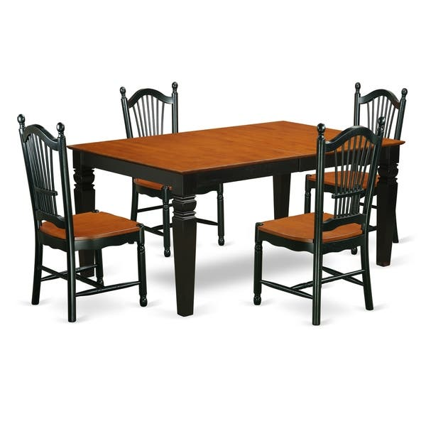 Fine Wedo5 Bch W 5Pc Set 1 Weston Table 4 Chairs In A Black Beatyapartments Chair Design Images Beatyapartmentscom