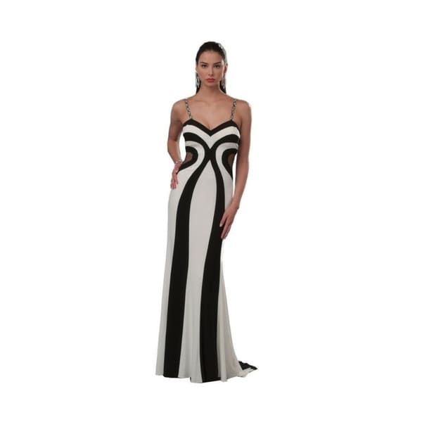 Robin DS Black and White Jersey Knit Evening Gown