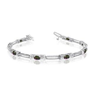 10k White Gold Natural Mystic-Topaz And Diamond Tennis Bracelet