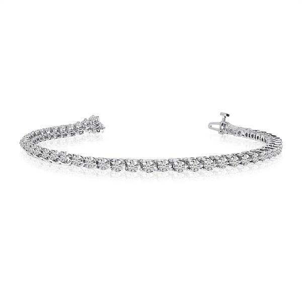 14k White Gold Clic 3 Ct Tennis Bracelet