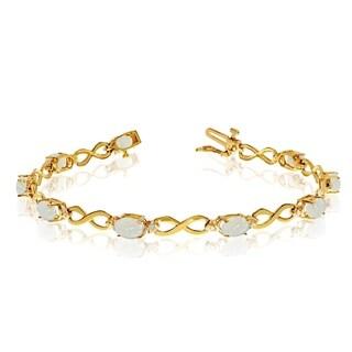 10K Yellow Gold Oval Opal and Diamond Bracelet