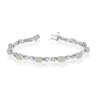 10K White Gold Oval Opal and Diamond Bracelet