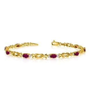 10K Yellow Gold Oval Ruby and Diamond Bracelet