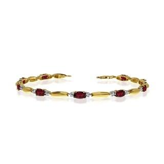 10K Yellow Gold Oval Garnet and Diamond Bracelet