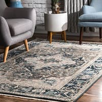 nuLOOM Blue Luxuriante Ornmental Ombre Fringed Area Rug - 8' x 10'
