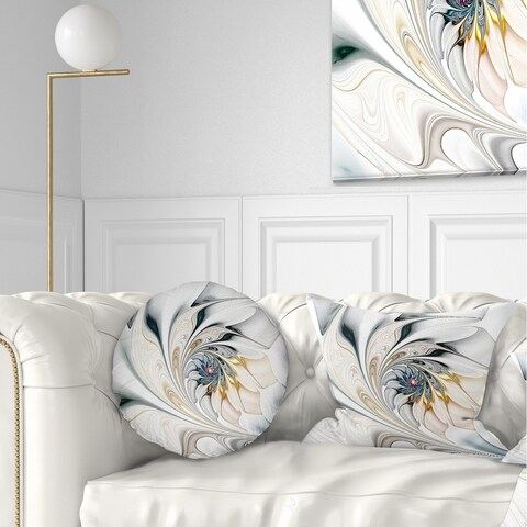 Designart 'White Stained Glass Floral Art' Floral Throw Pillow