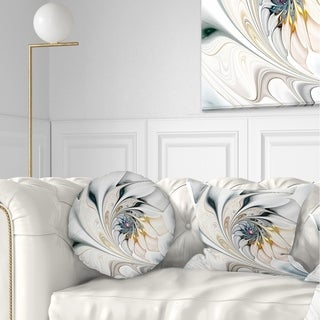 Designart 'White Stained Glass Floral Art' Floral Throw Pillow (More options available)