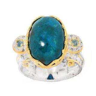 Michael Valitutti Palladium Silver Chrysocolla Oval Cabochon & Swiss Blue Topaz Ring