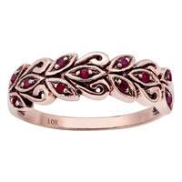 Viducci 10k Rose Gold Genuine Ruby Scroll Anniversary Ring