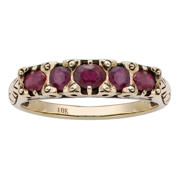 Viducci 10k Yellow Gold Genuine Ruby Anniversary Ring