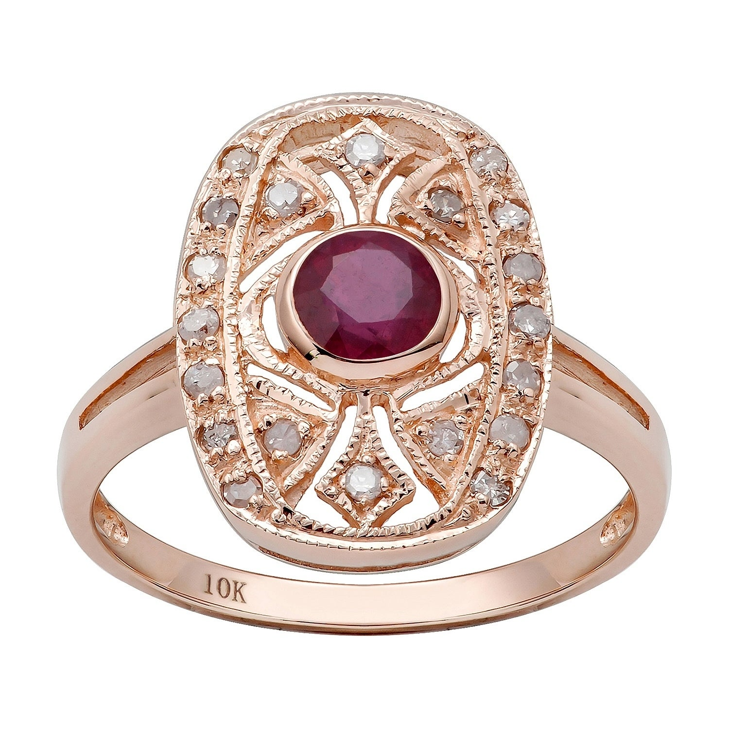 10k Rose Gold Vintage Style Genuine Round Ruby and Diamond Ring