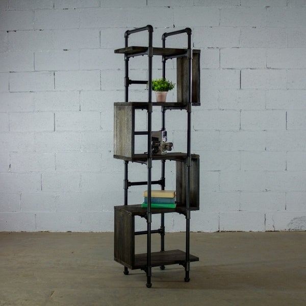 OS Home And Office Industrial 5 Shelf Open Metal Pipe Bookcase Display With  Reclaimed Wood