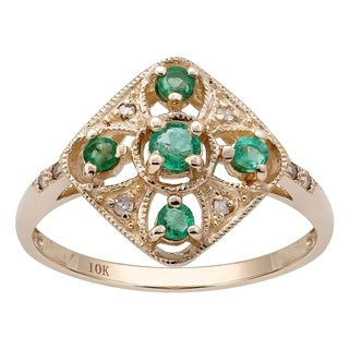 Viducci 10k Yellow Gold Vintage Style Genuine Round Emerald And Diamond Ring