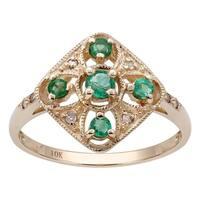 Viducci 10k Yellow Gold Vintage Style Genuine Round Emerald and Diamond Ring