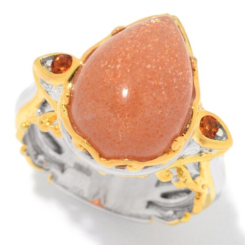 Michael Valitutti Palladium Silver Golden Sunstone Pear Cabochon & Madeira Citrine Ring