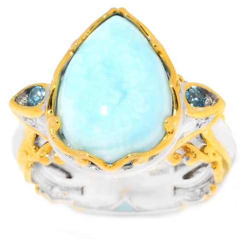 Michael Valitutti Palladium Silver Larimar Pear Cabochon & Swiss Blue Topaz Ring