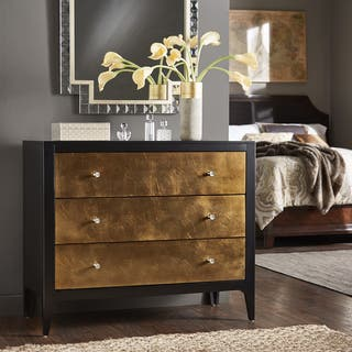 Zane Two Tone Black And Metallic Copper Leaf 3 Drawer Chest By Inspire Q