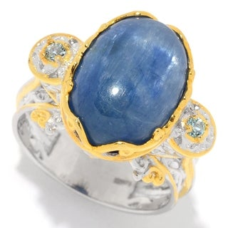 Michael Valitutti Palladium Silver Kyanite Oval Cabochon & Swiss Blue Topaz Ring
