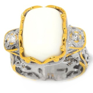 Michael Valitutti Palladium Silver White Coral Cushion Cabochon & White Topaz Ring