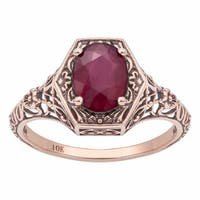 Viducci 10k Rose Gold Vintage Style Genuine Oval Ruby Ring