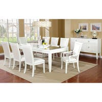 Furniture of America Olympia Antique White Mirror Top Dining Table with Leaf - Antique White