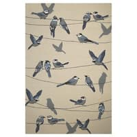 KAS Harbor Ivory Birds On A Wire Rug - 7'6 x 9'6