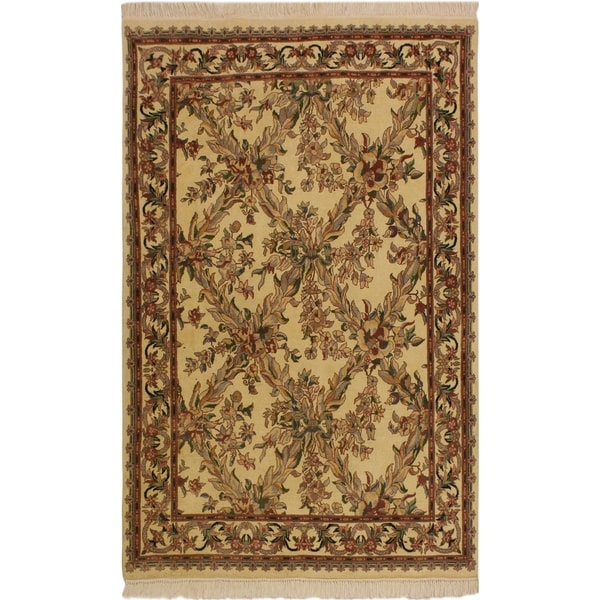 Basan Pak Persian Adelaide Ivory Gray Wool Rug 4 X27 0