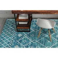 KAS Skyline Ocean Blue Escape Rug - 7'10 x 10'10