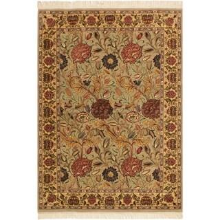 Kamal Pak-Persian Justina Lt. Tan/Blue Wool Rug (4'0 x 6'0) - 4 ft. 0 in. x 6 ft. 0 in.