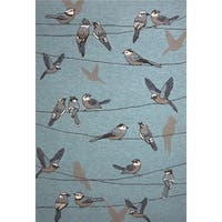 KAS Harbor Blue Birds On A Wire Rug - 7'6 x 9'6