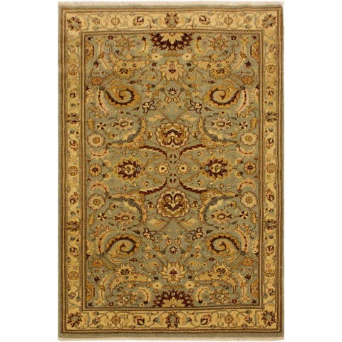 Istanbul Jeromy Lt. Green/Gold Turkish Hand-Knotted Rug -4'2 x 5'10 - 4 ft. 2 in. x 5 ft. 10 in. - 4 ft. 2 in. x 5 ft. 10 in.