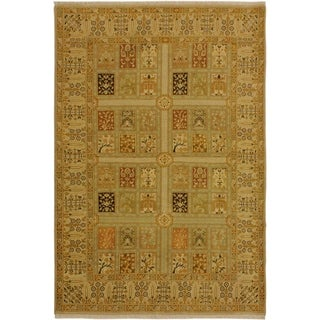 Istanbul Jerri Tan/Gold Turkish Hand-Knotted Rug -4'1 x 6'0 - 4 ft. 1 in. x 6 ft. 0 in.