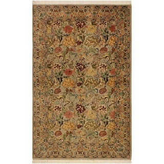 Pak-Persian Jeni Lt. Gray/Gold Wool Rug (4'1 x 6'2) - 4 ft. 1 in. x 6 ft. 2 in.