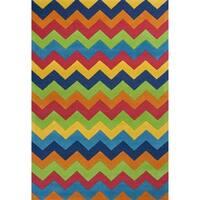 KAS Kidding Around Multicolor Wool/Cotton Handmade Zig-zag Area Rug - 7'6 x 9'6