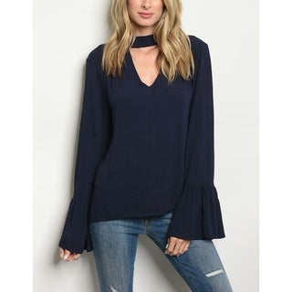 JED Women's Bell Sleeve Choker Top