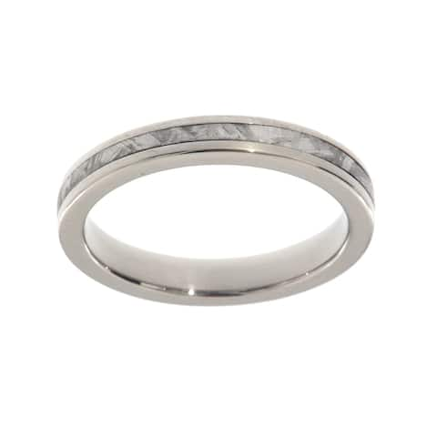 Authentic Gibeon Meteorite Ring 3mm Comfort-Fit Titanium Band Jewelry