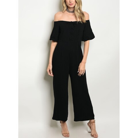JED Women's Off Shoulder Wide Leg Jumpsuit