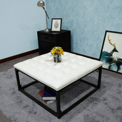 Nevinia Button Tufted White Leatherette with Black Metal Frame