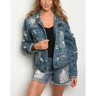 JED Women's Oversized Distressed Graffiti Denim Jacket (3 options available)