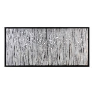 Uttermost Snowfall Modern Landscape Art - Black/Silver/White