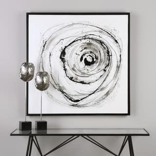 Uttermost Eye on The World Modern Abstract Art - Grey/Black/White