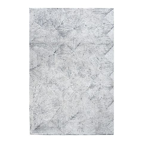 Uttermost Maze Ivory and Blue 5' x 8' Rug - 5' x 8'