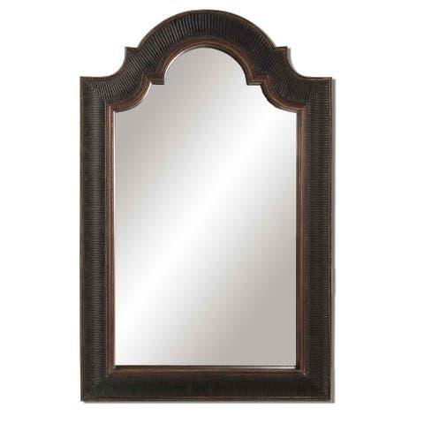 Uttermost Ribbed Arch Antique Black Mirror